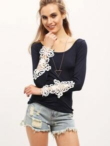 Blue Contrast Lace Hollow Slim T-shirt