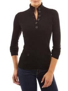 Black Stand Collar With Buttons Pockets Sweater