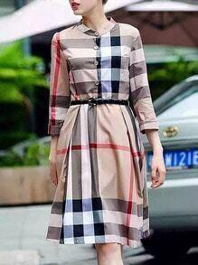 Beige Length Sleeve Check Print Drawstring Dress