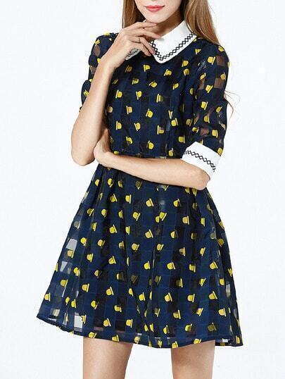 Navy Lapel Half Sleeve Print Dress