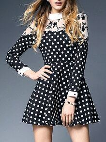 Black Long Sleeve Polka Dot Contrast Contrast Gauze Dress