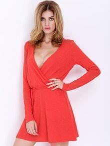 Red Long Sleeve V Neck Dress