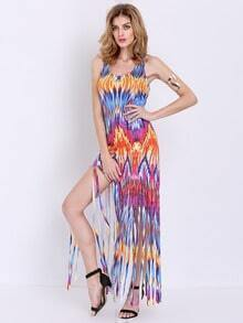 Multicolor Sleeveless Tassel Maxi Dress