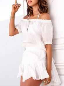 White Short Sleeve Off The Shoulder Ruffle Dress