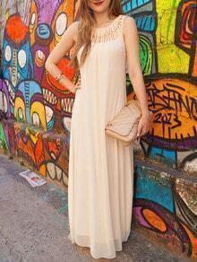 Apricot Sleeveless Hollow Maxi Dress