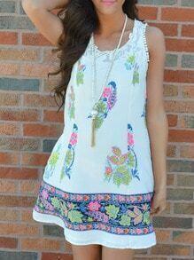 White Sleeveless Tribal Print Dress