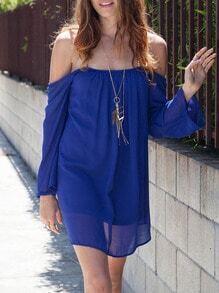 Blue Long Sleeve Off The Shoulder Backless Dress