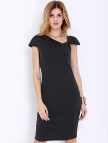 Black Cap Sleeve Zipper Split Dress