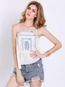 White Spaghetti Strap Backless Tribal Embroidered Cami Top