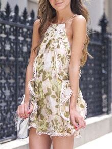 Pink Green Spaghetti Strap Floral Print Playsuit