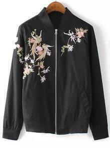 Black Stand Collar Zipper Embroidered Jacket