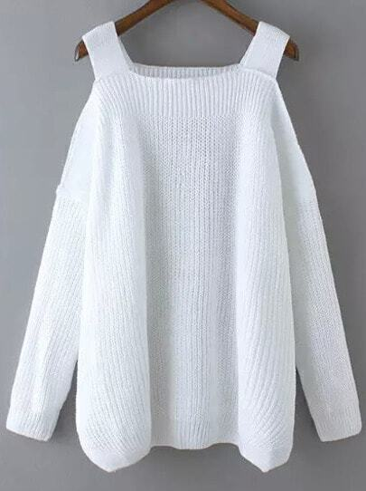 White Off the Shoulder Knit Loose Sweater