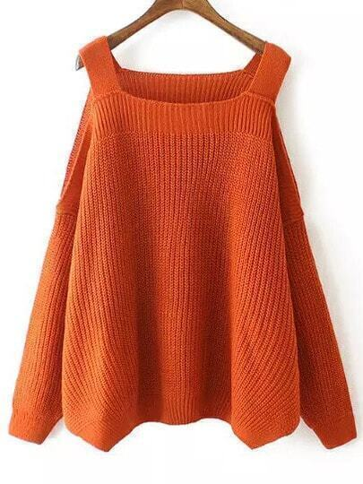 Orange Off the Shoulder Knit Loose Sweater
