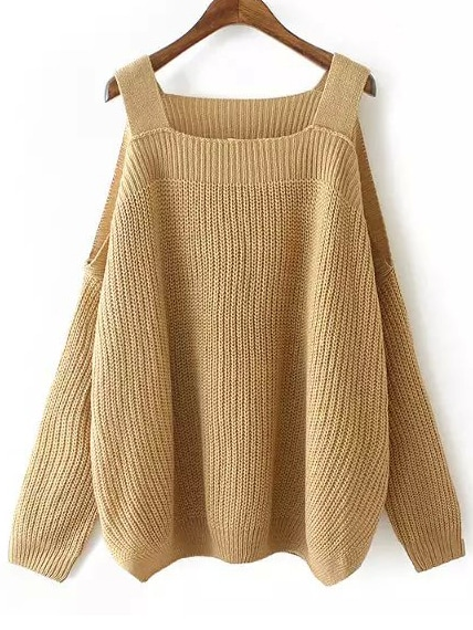 Khaki Off the Shoulder Knit Loose Sweater sweater150728203