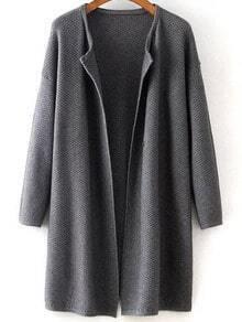 Grey Long Sleeve Knit Loose Cardigan
