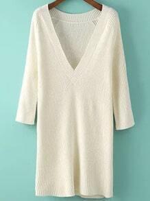 Beige V Neck Long Sleeve Knit Sweater