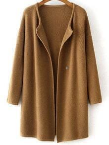Coffee Long Sleeve Knit Loose Cardigan