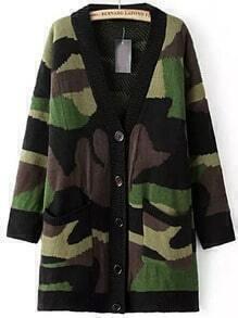 Green V Neck Camouflage Pockets Cardigan