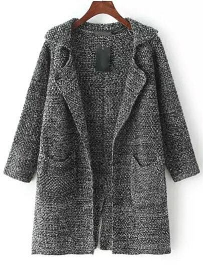 Dark Grey Lapel Long Sleeve Pockets Knit Cardigan