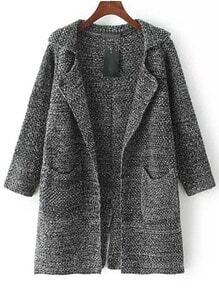 Dark Grey Lapel Long Sleeve Pockets Knit Cardigan
