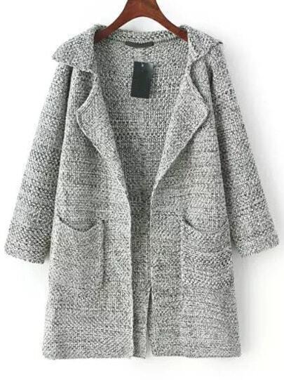 Grey Lapel Long Sleeve Pockets Knit Cardigan