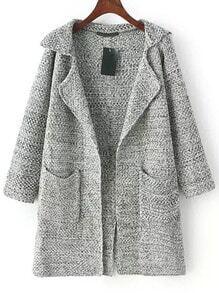Cárdigan solapa manga larga bolsillos -gris