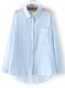 Blue Lapel Vertical Stripe Pocket Dip Hem Blouse