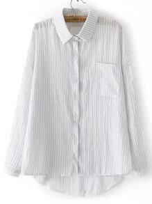 Grey Lapel Vertical Stripe Pocket Dip Hem Blouse