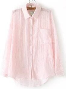 Pink Lapel Vertical Stripe Pocket Dip Hem Blouse