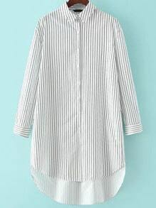 White Lapel Vertical Stripe Dip Hem Blouse