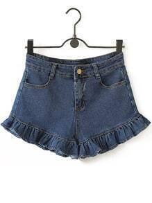 Blue High Waist Ruffle Denim Shorts