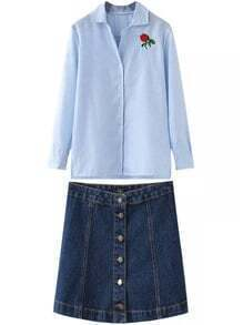 Blue Vertical Stripe Embroidered Blouse With Denim Skirt