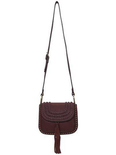 Coffee Tassel Weave PU Satchel Bag