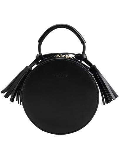 Black Tassel Round PU Tote Bag