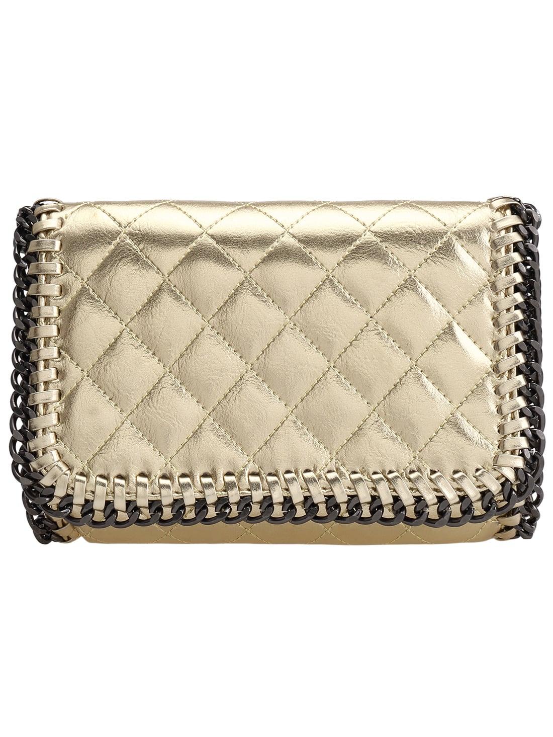 Gold Diamond Pattern Chain Embellished PU Bag