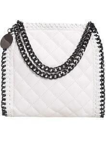 White Diamond Pattern Chain Embellished PU Bag