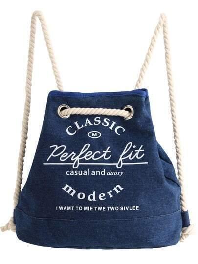 Blue Letters Print Denim Backpack