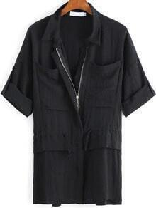 Black Lapel Zipper Pockets Coat
