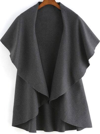 Grey Lapel Dip Hem Loose Coat