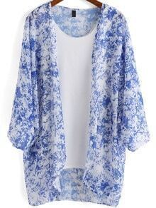 Blue Long Sleeve Floral Two Pieces Kimono