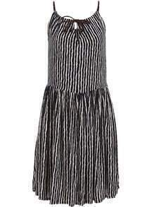 Black White Spaghetti Strap Vertical Stripe Knotted Dress