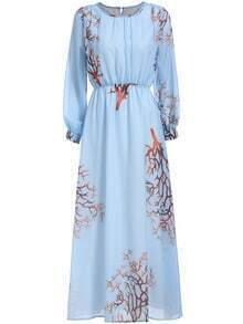 Blue Long Sleeve Coral Print Maxi Dress