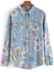 Multicolor Lapel Long Sleeve Floral Denim Blouse