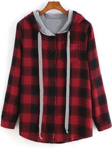 Red Hooded Long Sleeve Plaid Pocket Sweatshirt