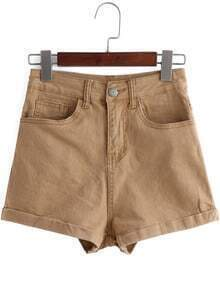 Khaki High Waist Flange Denim Shorts