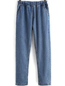Blue Elastic Waist Loose Denim Pant