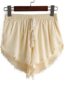 Apricot Drawstring Waist Peplum Trims Shorts