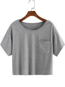 Grey Round Neck Pocket Crop T-Shirt