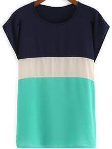 Colour-block Round Neck Loose T-Shirt