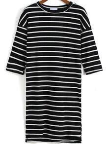 Black White Round Neck Half Sleeve Striped T-Shirt
